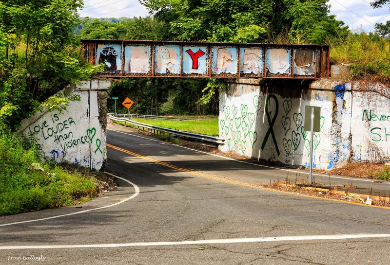 Graffiti on railroad bridge