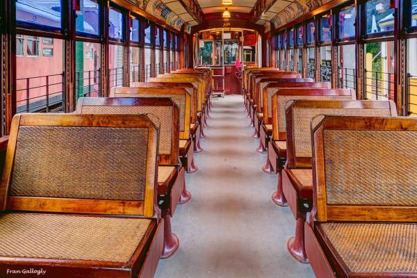 Interior of a vintage trolley car