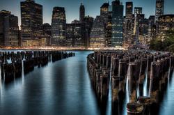 Manhattan Twilight as seen from Brooklyn Bridge Pa