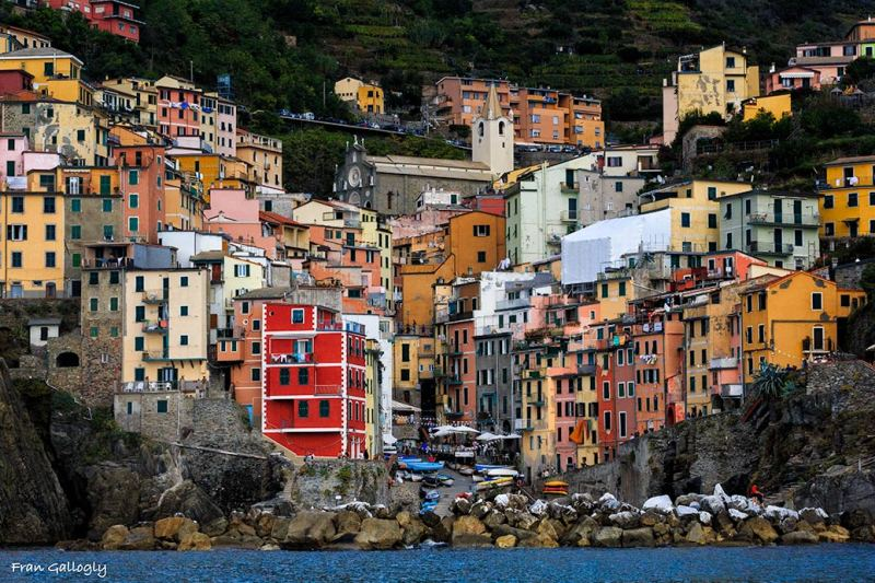 Riomaggiore from the sea, Cinque Terre