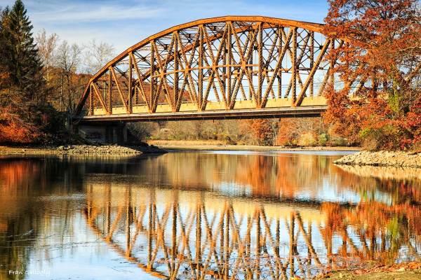 Historic Metal Truss Bridge in Sandy Hook CT