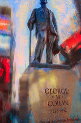 Digital Painting of George M. Cohan statue, NYC