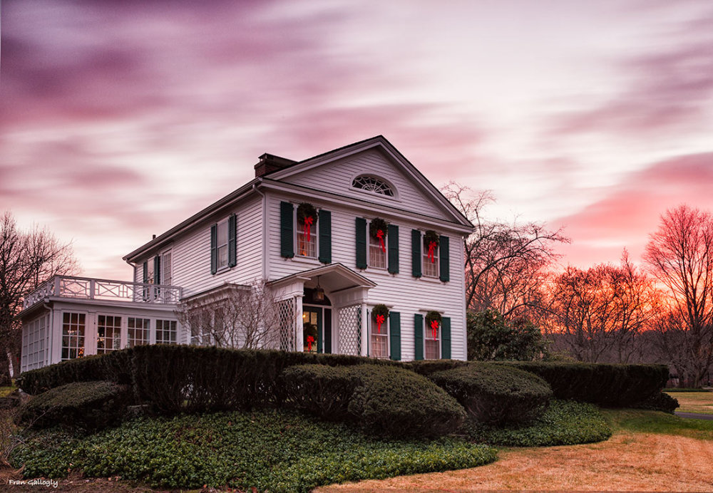 Osborne Homestead Museum at sunset, Derby, CT