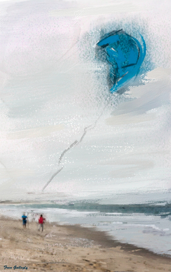 Digital painting of a kite surfer on the beach