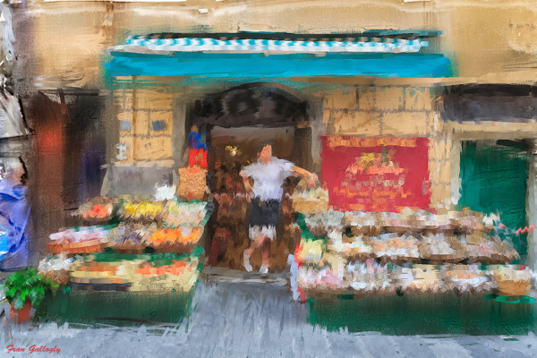 Digital Painting of a Riomaggiore Grocer