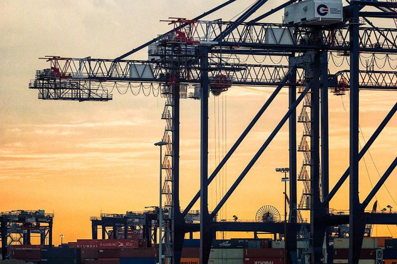 Cranes in New York Harbor