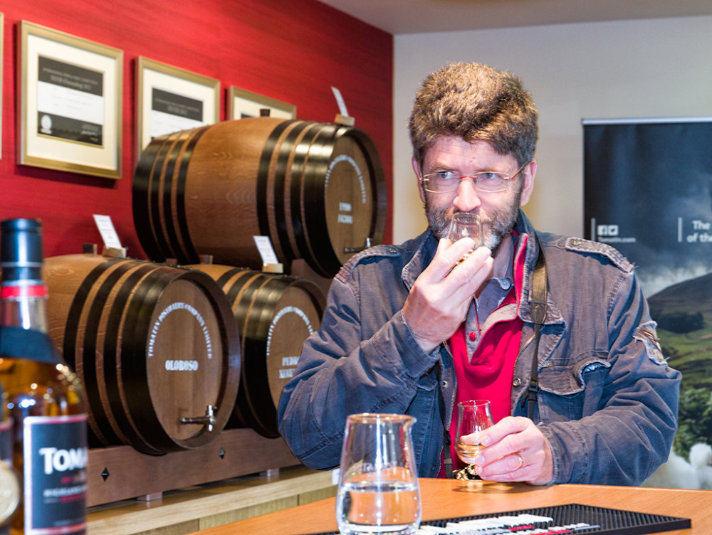 Sampling Single Malts at Tomatin Distillery