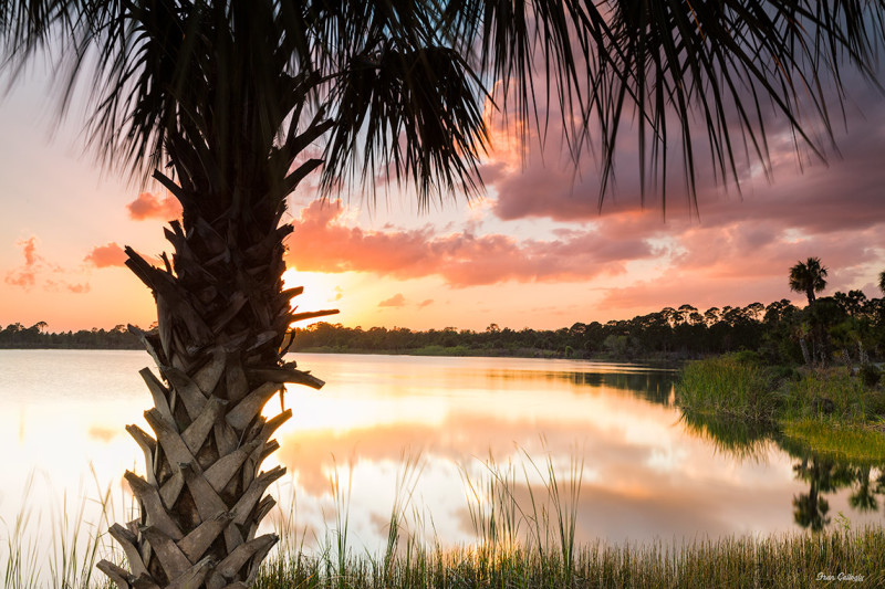 Sunset by the lake in Florida