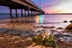 sunset by the drawbridge to hutchinson island, fl