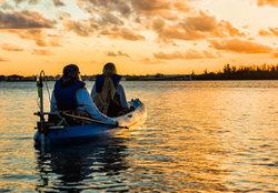 Motorized kayak at sunset on Indian River, Florida