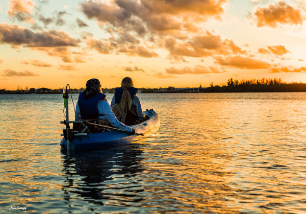 Motorized kayak at sunset on Indian River, Florida