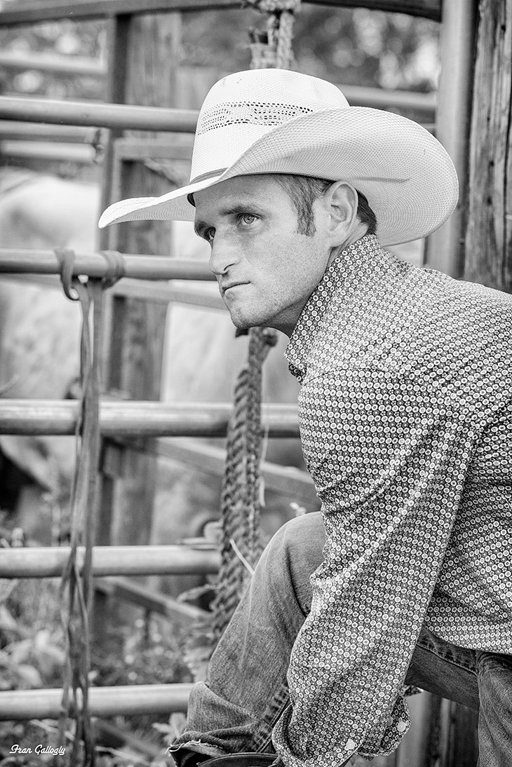 cowboy at rodeo in monochrome, Florida