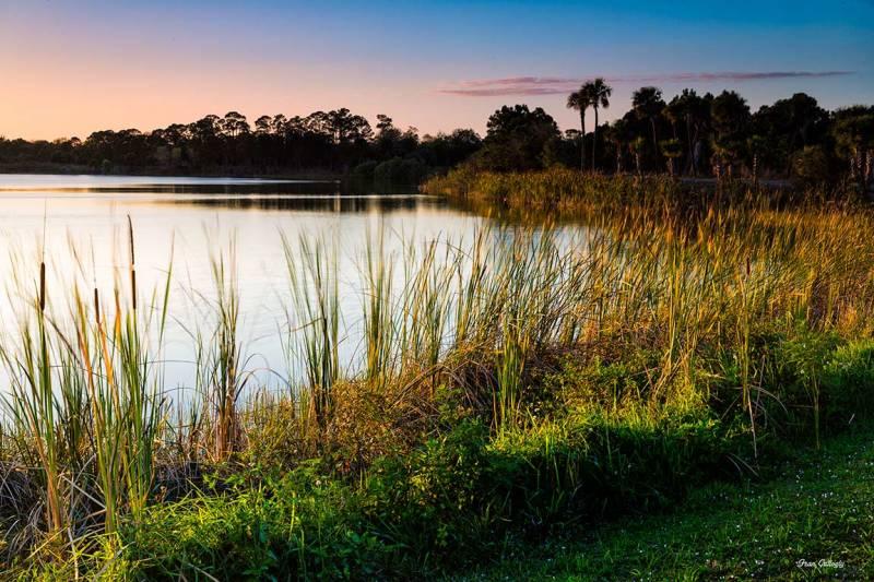 Sunset over the lake at George LeStrange Preserve,