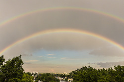 Double rainbow in city of Bridgeport CT
