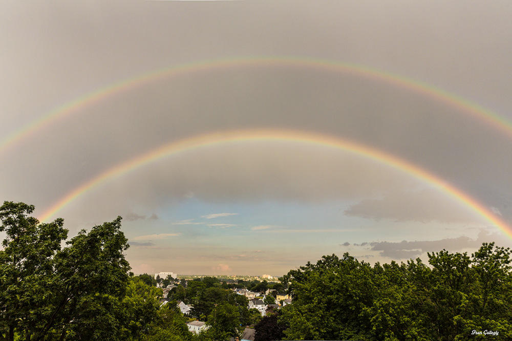 Double rainbow in city of Bridgeport CT