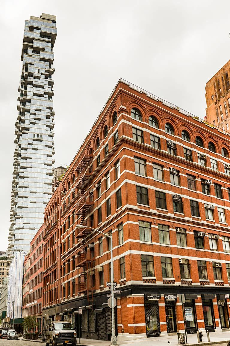Old and new architecture in Tribeca, NYC