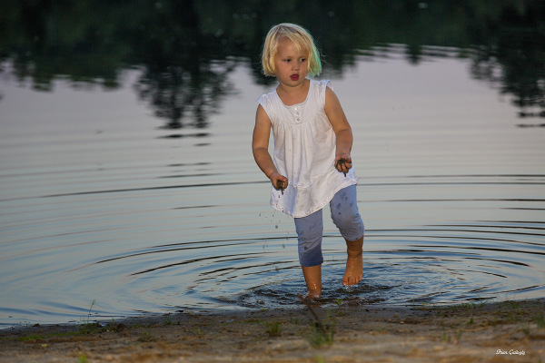 Child in lake in rural Ulster County, New York