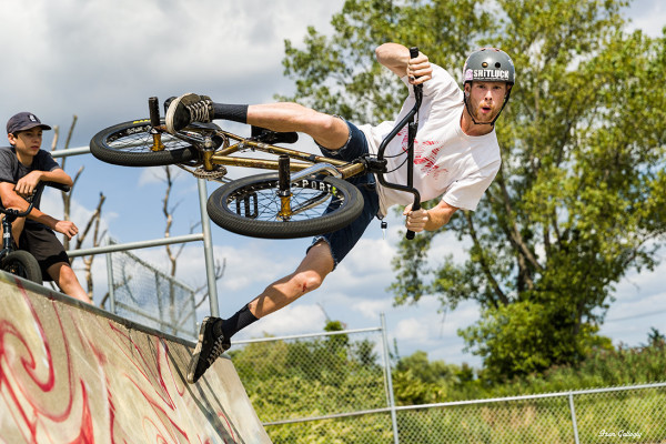 BMX Biker off the station at Savin Rock Festival,