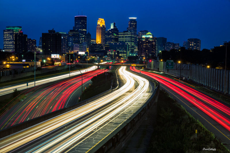 Minneapolis Skyline at Night from I-35W