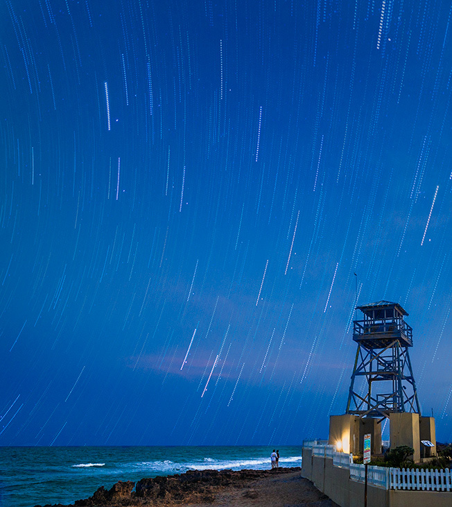 Star Trails over house of refuge, Florida