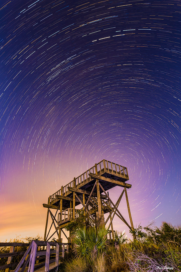 star trails over tower at jonathan dickinson park