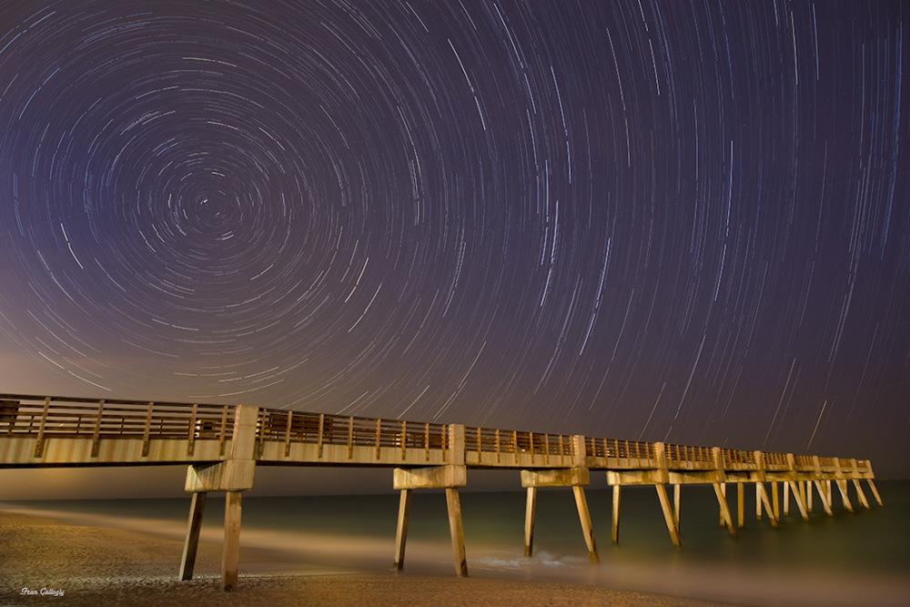 Star trails over the pier, vero beach florida