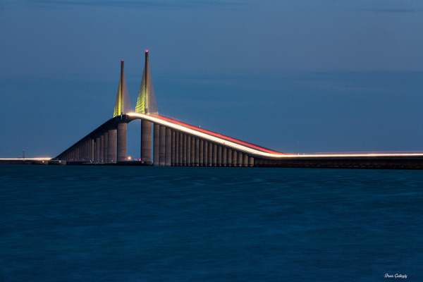 Skyway bridge at night with car trails, florida