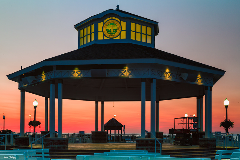 Sunrise on Rehoboth Beach Delaware at bandstand