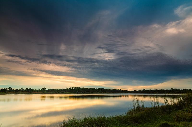 Sunset over the lake Florida
