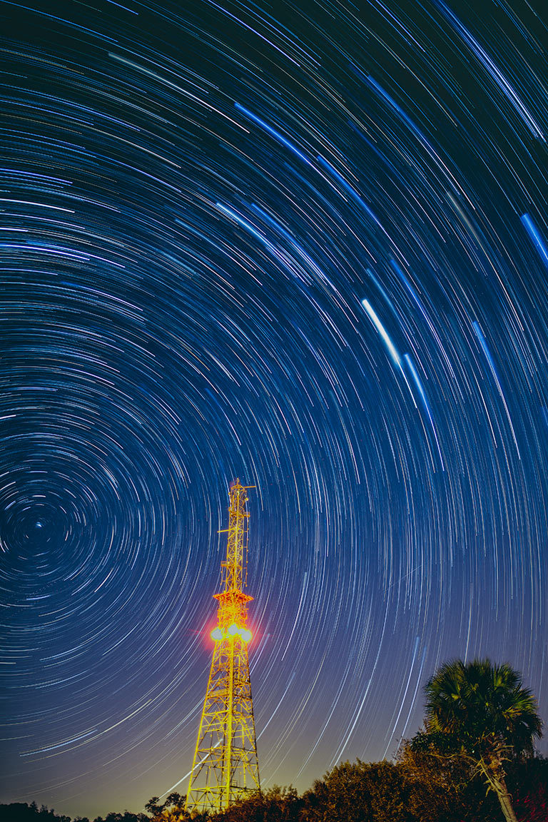Star Trails over tower, florida