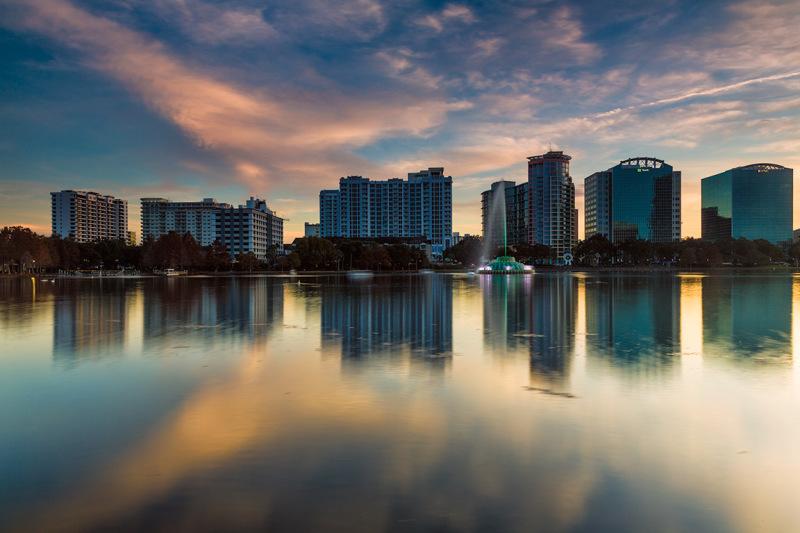Orlando at sunset as seen from lake eola park