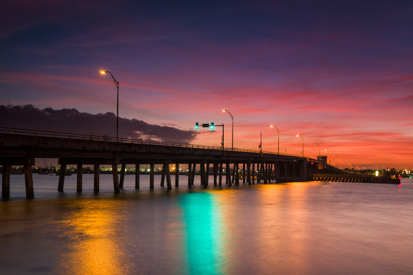 Sunset at bridge on Hutchinson Island FL