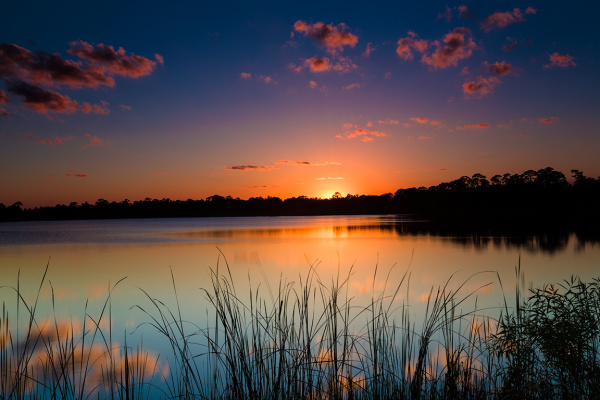 Sunset at the lake, Florida