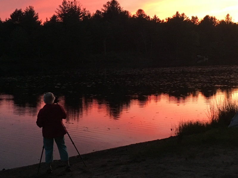 photographing sunset, ellenville NY lake