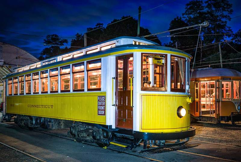 Trolleys in the yard at night, Branford CT