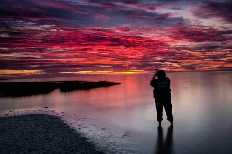 sunset at skaket beach, cape cod,ma