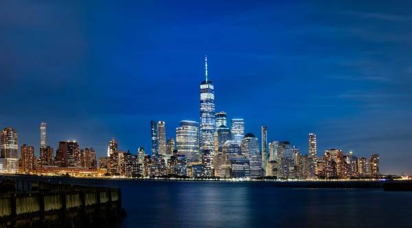 Lower Manhattan pano after dark