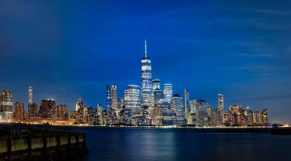 Lower Manhattan pano after dark