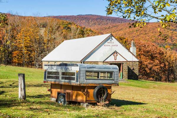 Rural church in West Virginia in Autumn