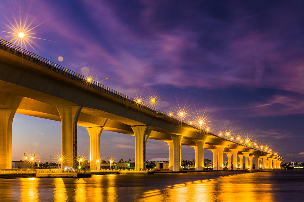 Roosevelt Bridge over St. Lucie River at night, St