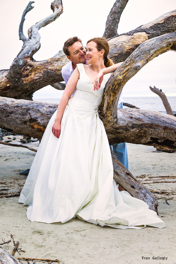 Bride and Groom Among the Driftwood