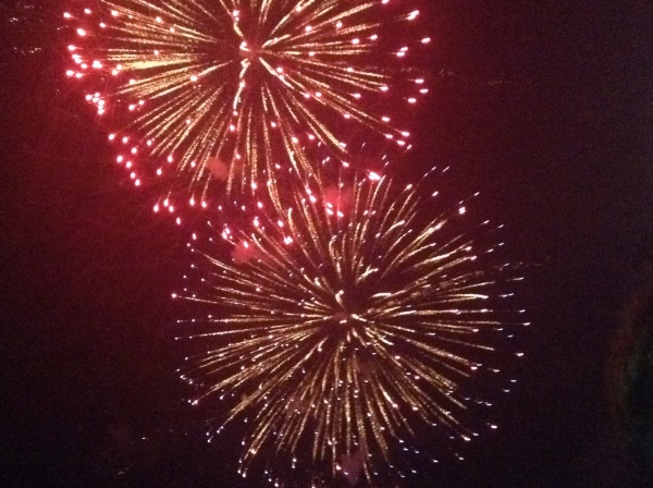 Bright fireworks at coast guard