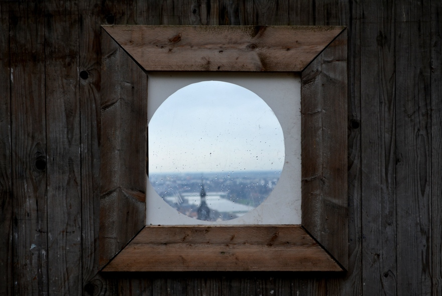 Endless beauty through construction site window