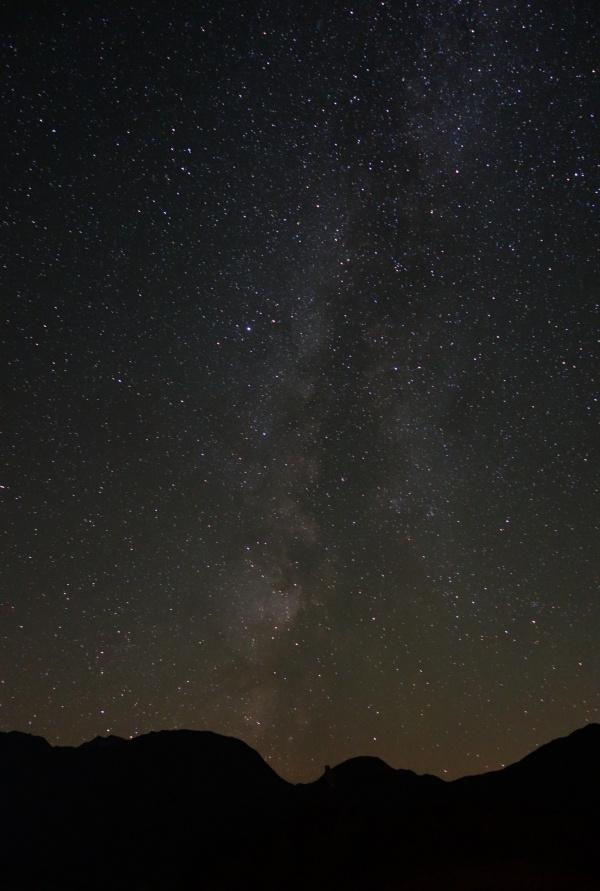 stars night sky mountains