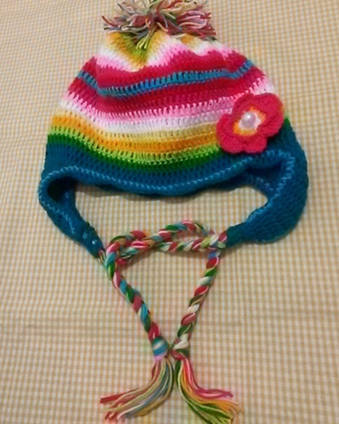 a rainbow hat