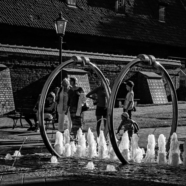 people, fountain, children, relax, square