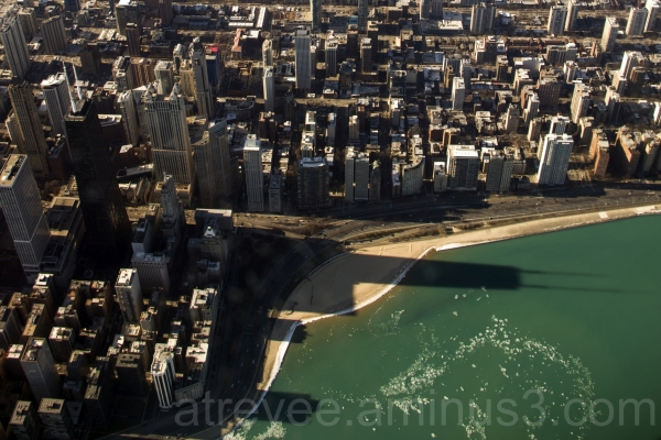 airplane air chicago skyline lake-michigan