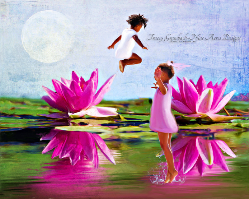 two girls leaping off water lillies