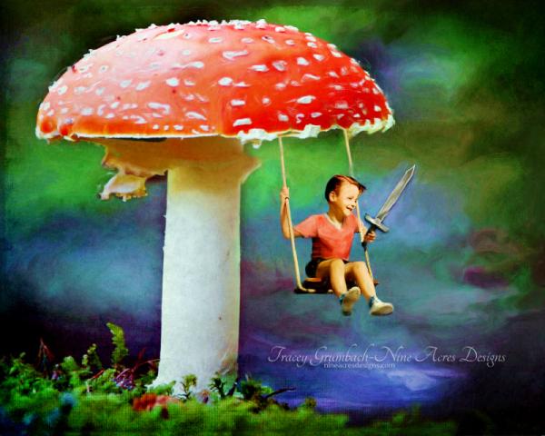 boy swinging with sword on a mushroom