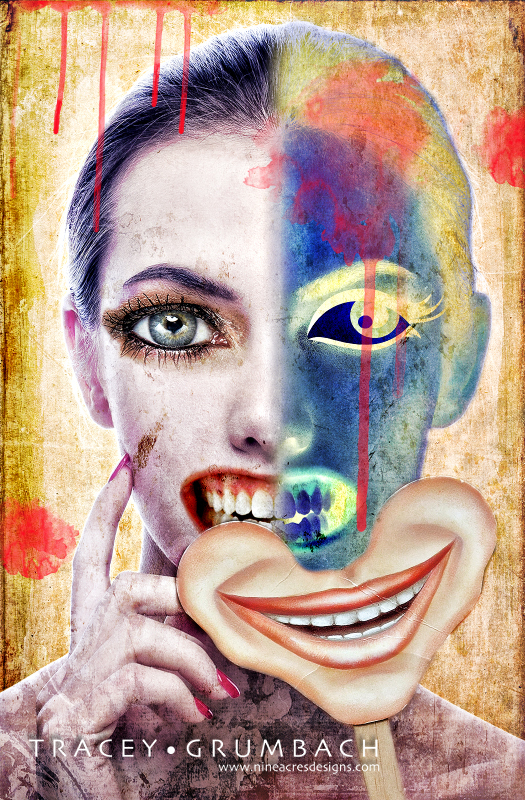 woman hiding behind mask